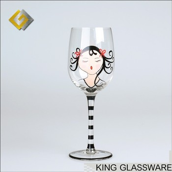 Hand Painted Black Colored Stem Wine Glass Designs For Little Girls Birthday Party Gift