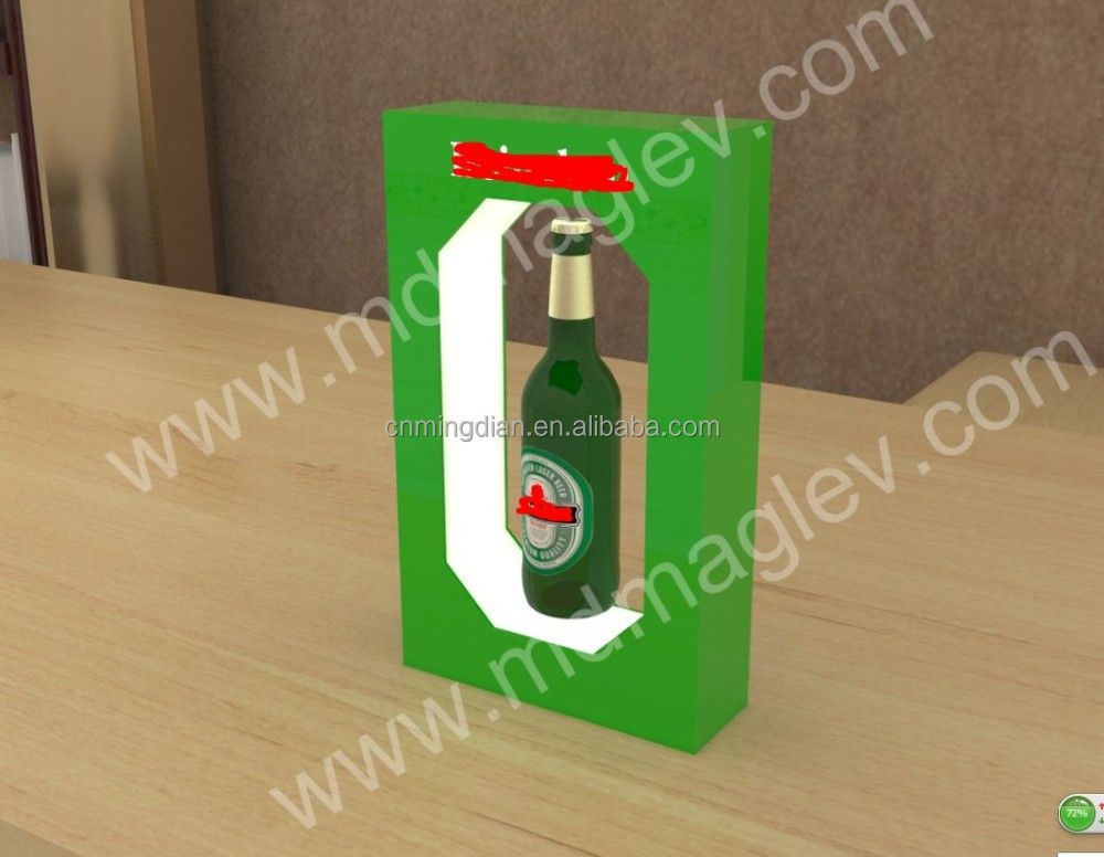 LED acrylic magnet floating wine bottle display stand