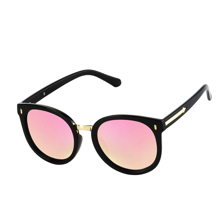 577fb83ab5 Get Quotations · Essiso - Premium Quality Polarized Classic Black Frame  Shades Mirrored Flat Lens Sunglasses Unisex Sunglasses
