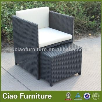 Cube Outdoor Chair / Rattan Chair With Hidden Ottoman