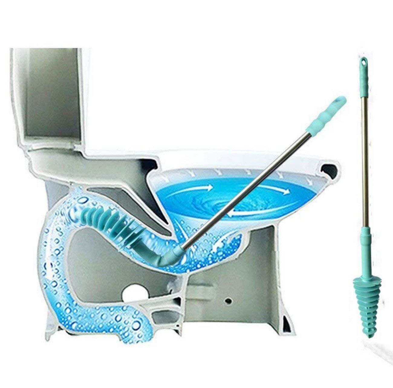 Toilet Plunger,Piston Type Toilet Dredge Tool Powerful Clog Remover For Siphon Type Toilet(80760mm)