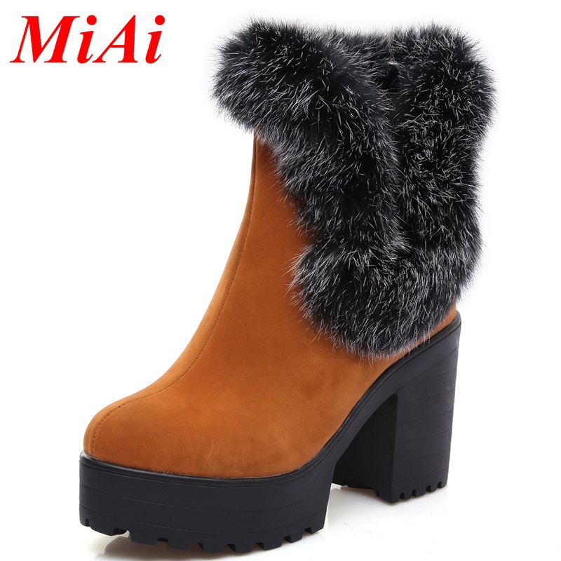 New fashion women shoes boots 2015 leather round toe casual shoes women winter boots high heeled ankle boots black women boots