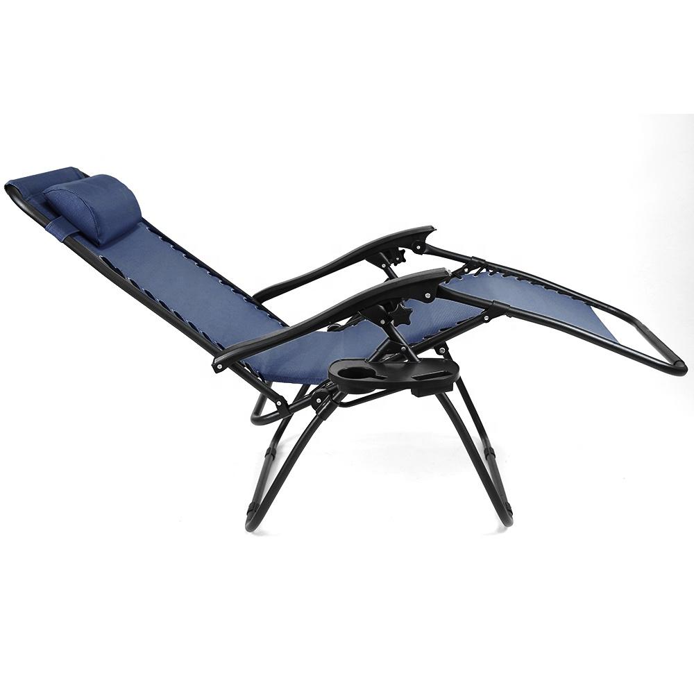 Outdoor folding reclining chairs cup holder lounger deck chairs lightweight zero gravity chair