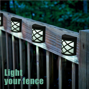 Solar Fence Lights, 6 LEDs Per Light, Waterproof Solar Wall Lights for Outdoor Deck, Patio, Stair, Yard, Path and Driveway