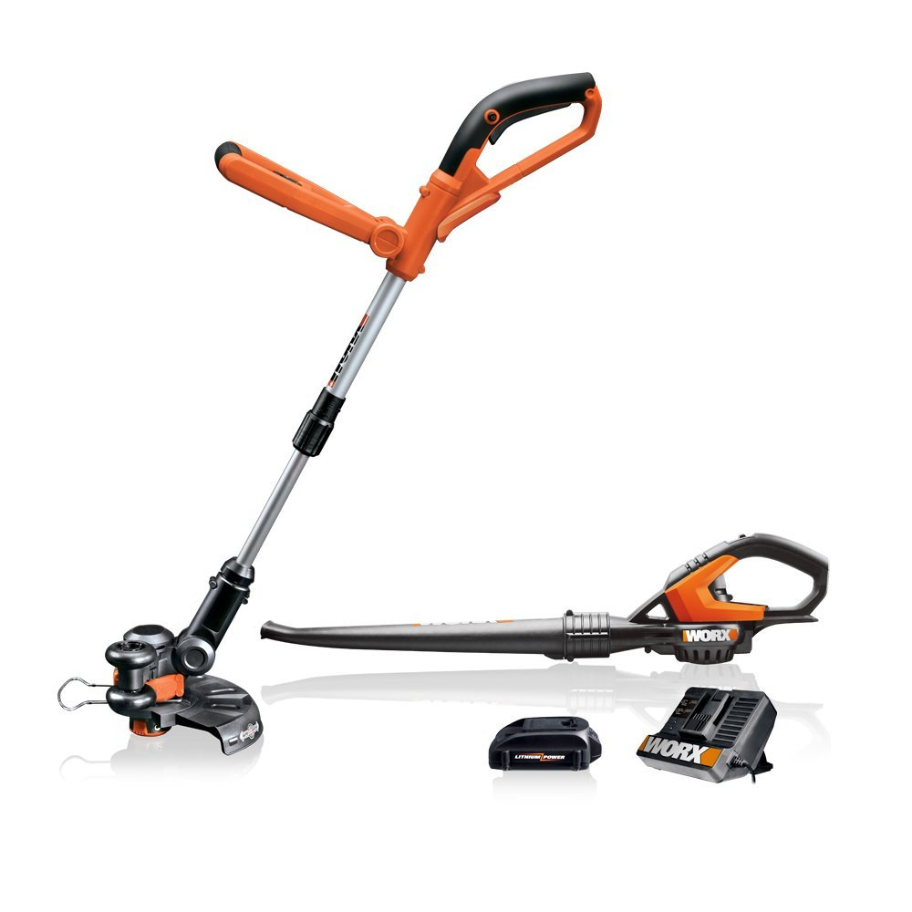 WORX WG912.51 2-Piece 18 Volt Lithium-Ion Cordless Combo Kit With Blower & String Trimmer