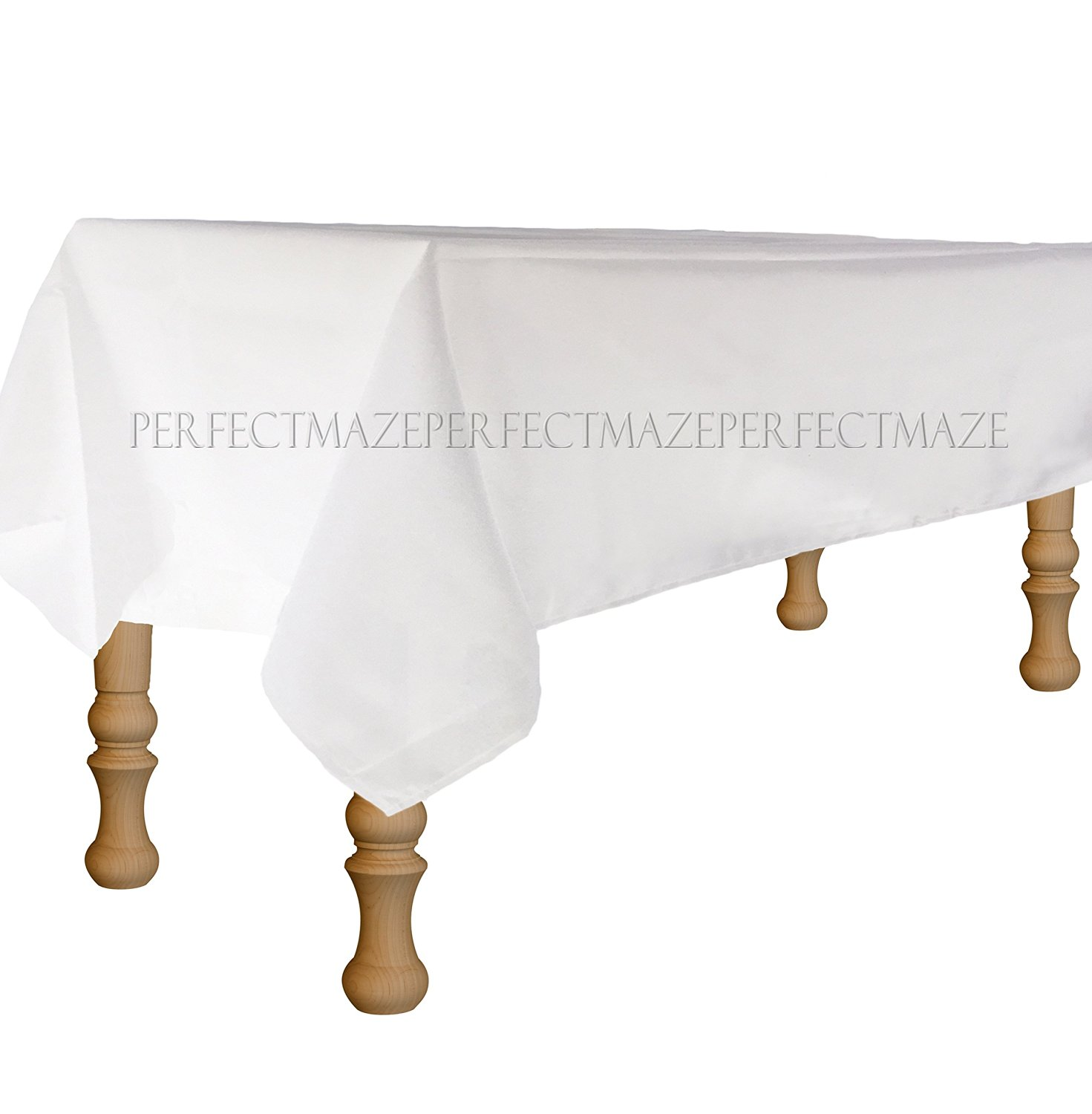 """Perfectmaze Set of 10 Rectangle 90""""x132"""" Tablecloths for Home, Wedding, Holidays; Birthday Party, Bridal / Baby Shower, or Restaurant Use (White)"""