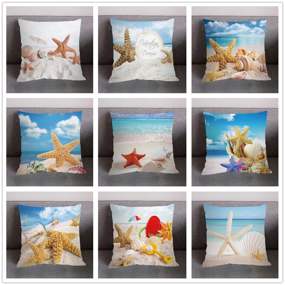 Mar Mediterrâneo Estilo Praia Starfish Concha Capas De Almofada Fronha Decorativa Capa De Almofada 45x45cm Decoração Da Casa 30 Capa De Almofada Aliexpress