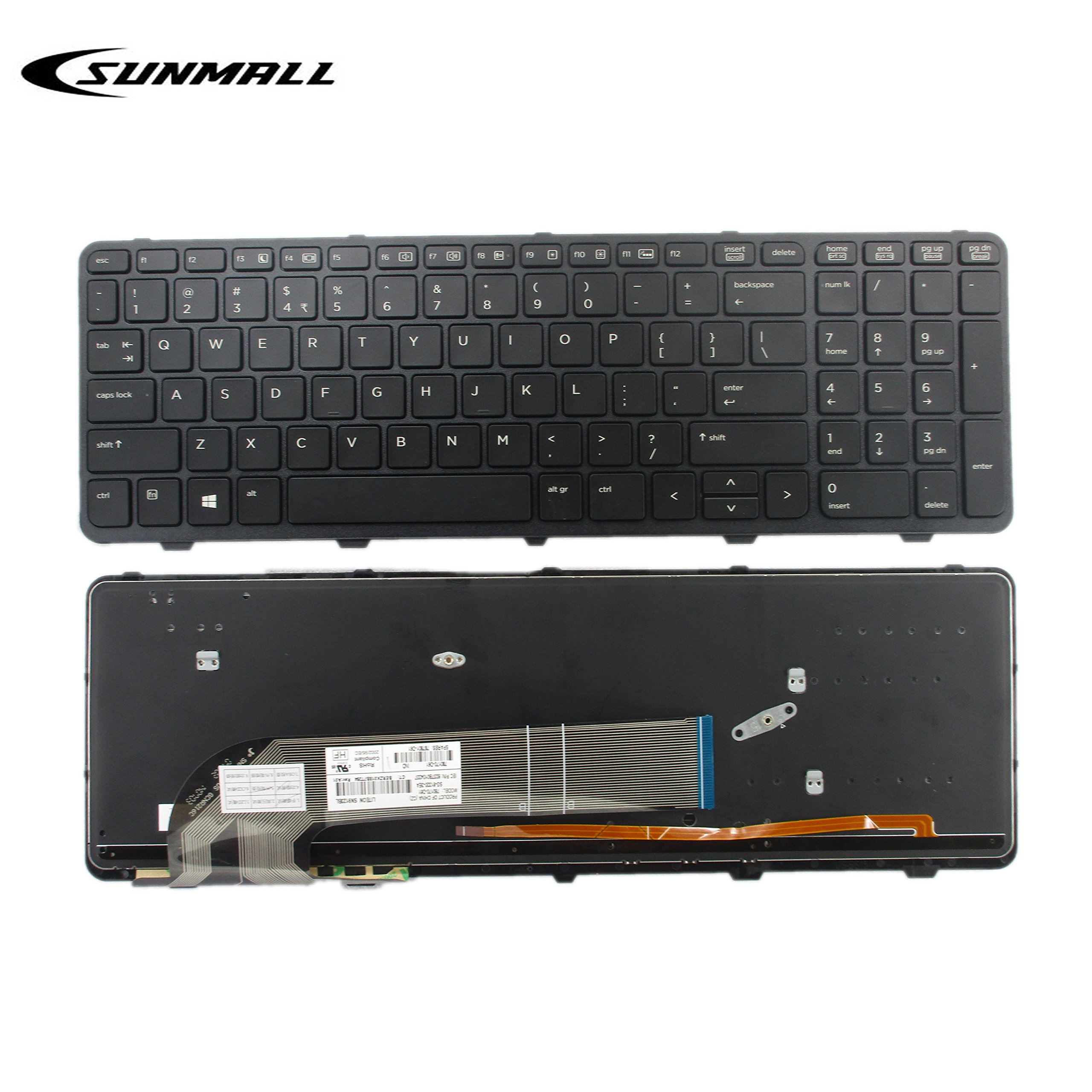 SUNMALL New Laptop Keyboard replacement with FRAME and Backlit for HP Probook 450 G0 450 G1 Series Black US Layout(6 Months Warranty)