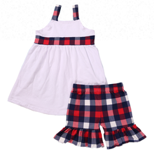 2018 groothandel zomer <span class=keywords><strong>meisje</strong></span> boutique korte sets plaid ruche <span class=keywords><strong>kleding</strong></span> <span class=keywords><strong>4</strong></span> Juli outfits