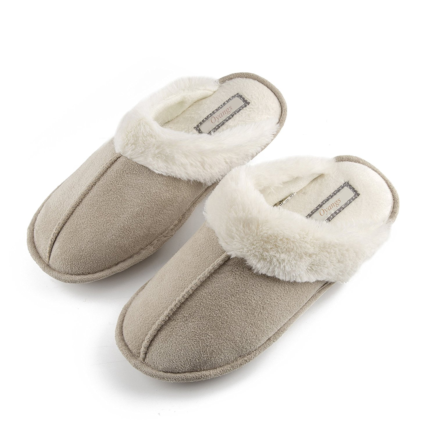 Oyangs Women's Slippers, Slipper For Women Ladies Slippers Indoor Slippers,Bedroom Slippers Slipper Ladies Memory Foam Slippers Size 7 8 9 Grey Cotton Fuzzy Fluffy House Womans Warm Slippers S170
