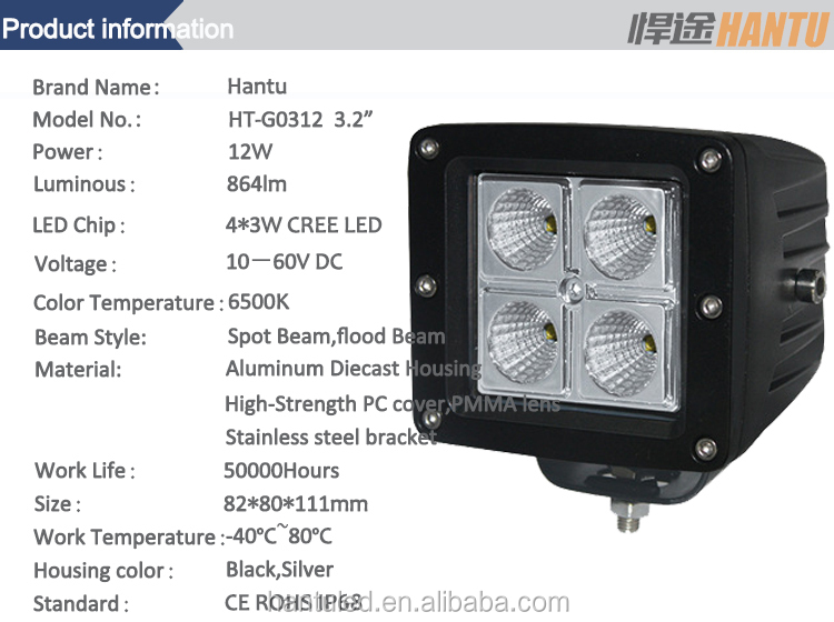 camber housing work light for SUV truck led work lamps factory manufacture round shape bridgelux led (flood /spot beam)