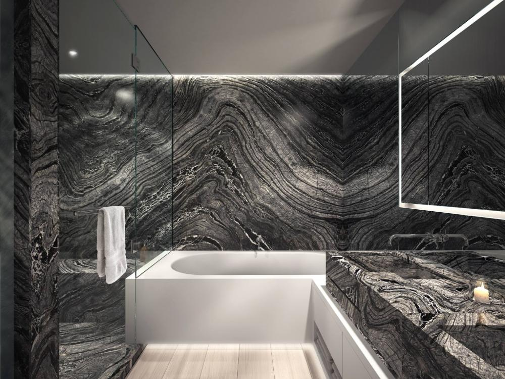 Stylish Bathroom Wall Covering Natural Black Stone Polished Kenya