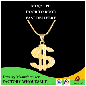 Dollar Shape S Alphabet Pendant Design 18k Gold Hip Hop Metal Jewelry