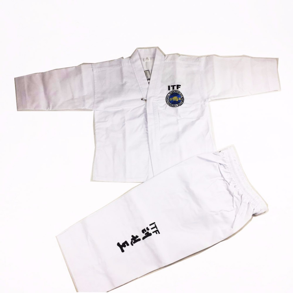 Wholesale high quality customized ITF training dobok taekwondo uniform for trainers or Masters, White