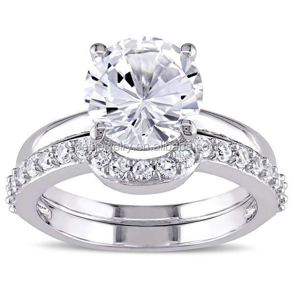 PES Fashion Jewelry! 10k White Gold Created White Sapphire Bridal Ring Set (PES6-1647)