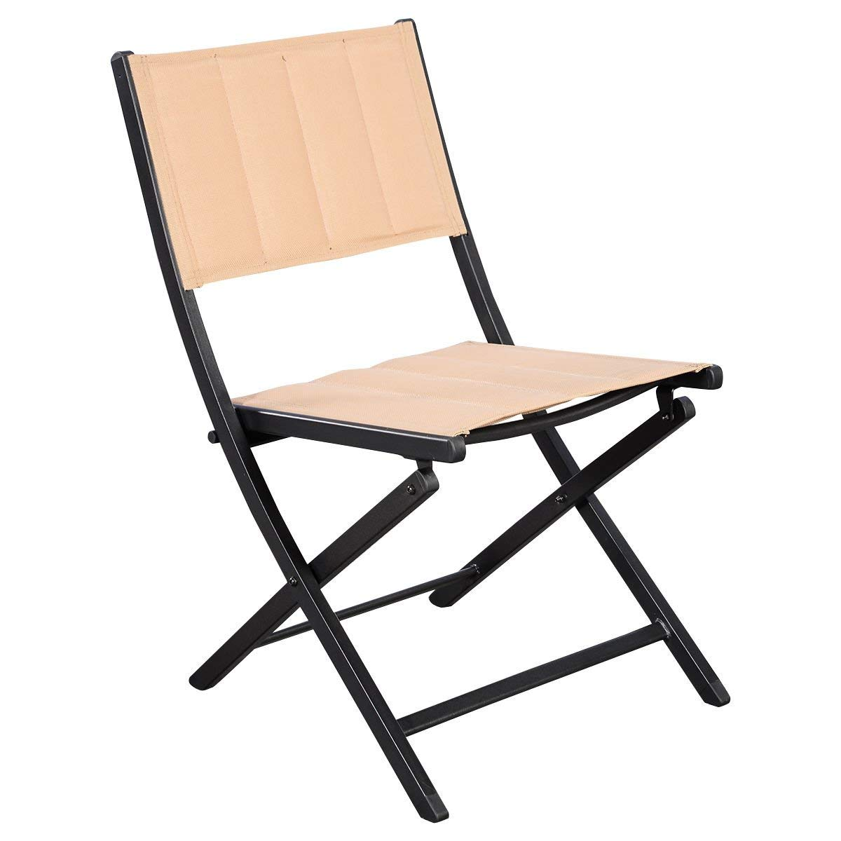 KCHEX>5 PCS Patio Outdoor Folding Chairs Table Furniture Set Backyard Bistro>This is Our 5 Pieces Outdoor Folding Chairs and Table Furniture Set, Including 4 Folding Chairs and 1 Round Table.