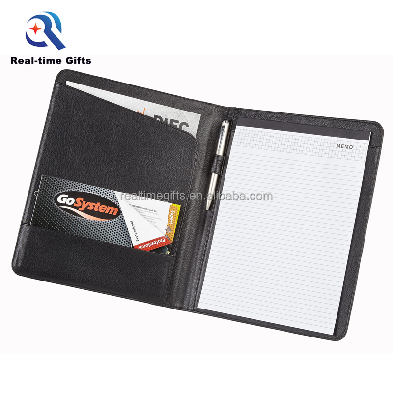 Fashion Multifunction Business Office Conference A4 Black PU Leather Folder For Interview
