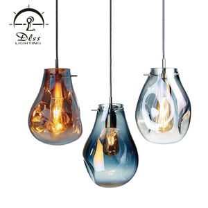 Fashion Indoor Lighting Suspension Amber Smoky Blue Silver Gold Glass E27 Pendant Lamp