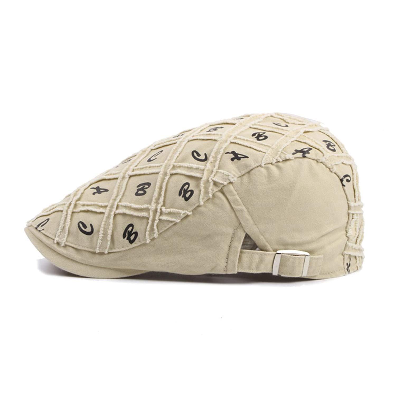 8afccbdb WAZZIT Cotton Newsboy Caps Plaid Letter Flat Cap Fashion Gatsby Ivy Flat  Golf Driving Hat