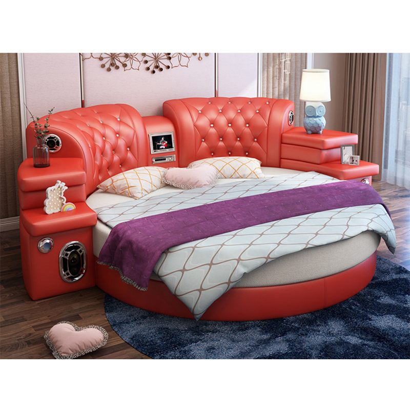 Cbmmart King Size Round Bed On Red
