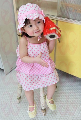 2016 New Girls dress baby dress pink dotted hat dotted suspender dress Lady style