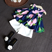 New Coming Trendy Summer Beach Wear Cartoon Printing Top and Shorts Suit, Baby Girls Clothing Set