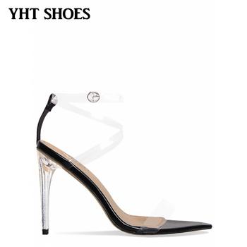 bd56215eb6d New Fashion women perspex transparent shoes pvc acrylic heel ankle strap  sandals