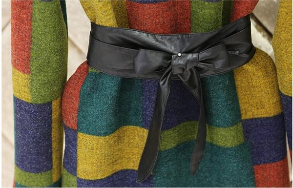 Платья трапециевидный завязки шерстяная ткань с круглым вырезом осень, женщины радуга шотландка контрастность цвет средняя - длинная женщины приталенный база Vestidos