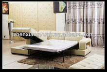 2016 Hom furniture mordern leather sofa bed with pull out bed