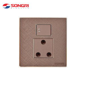 Songri 16A plug socket wall 3-pin round pin electric UK wall socket with switch