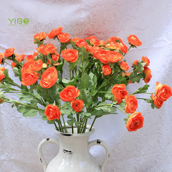 The Most Orange Color Real Feel Silk Ranunculus Camellia Artificial Flower