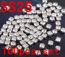 Ss25 5 mm Sew on cristal pedrinhas diamante Flatback Craft vestido fazer com prata garra pedras de vidro