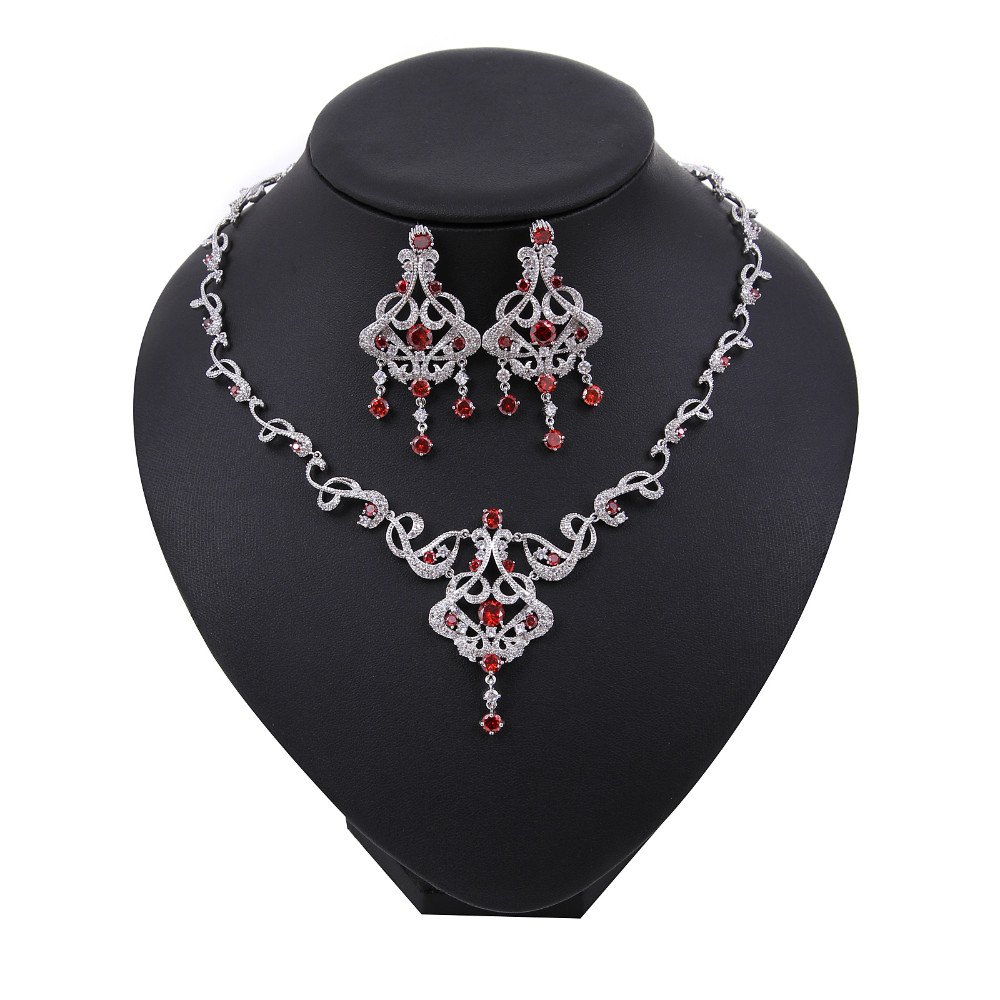 Latest New Design Wedding Necklace Set,AAA Cubic Zirconia Jewelry Sets for Women wholesale factgory