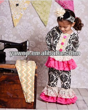 2013cheap baby clothing outfit damask outfit with lace ruffle set long sleeve tank top and petti pants autumn bodysuit outfit