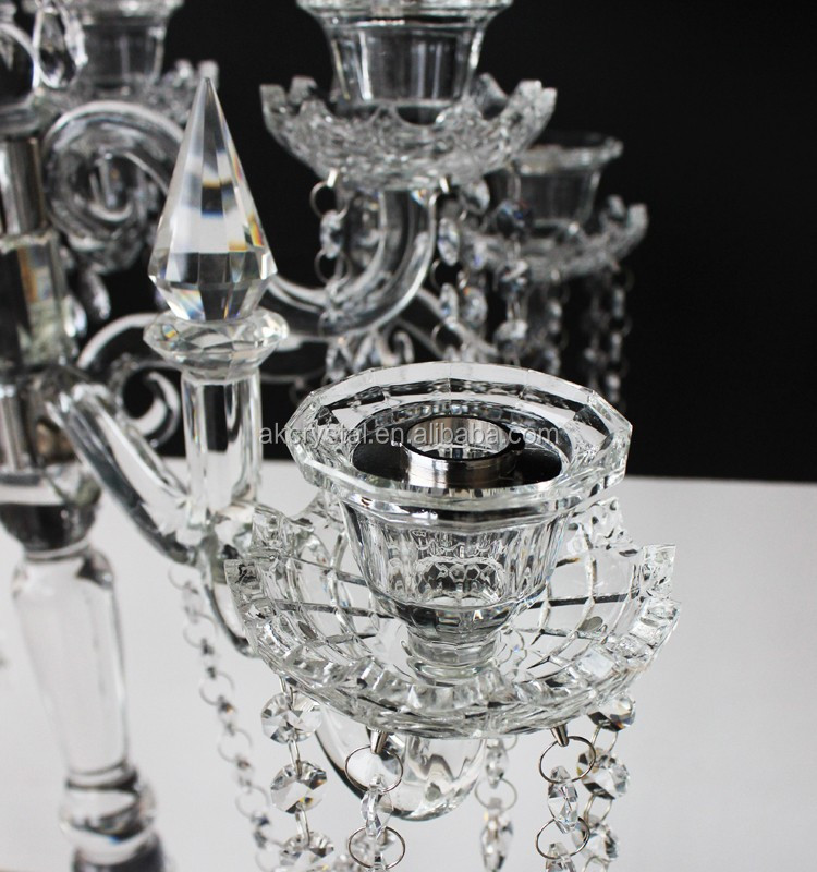 Beautiful wedding table centerpieces 9 arms clear crystal candelabra centerpieces for sale