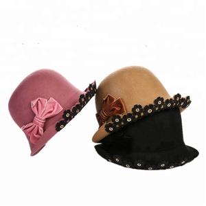 0b10768753739 Wholesale elegant Women 100 wool felt cloche hat for winter dress