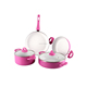 Pink Ceramic Nonstick Marble Coating Cookware Set, Stainless Steel Handle Cooking Pots and Pans Set PTFE and PFOA Free Cookware