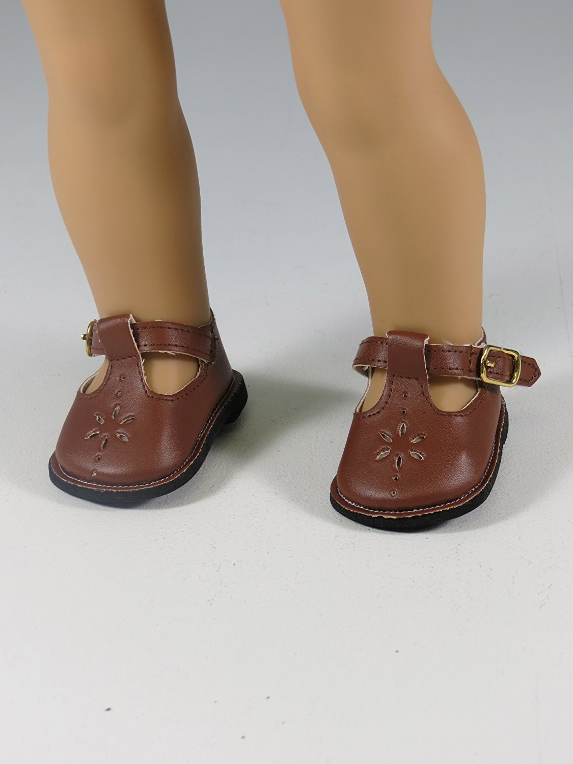 12bf57ce3bec Get Quotations · Brown Flower Mary Janes Shoes. -Doll clothing Accessory  -Fits 18