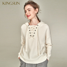 Lace Up Frauen <span class=keywords><strong>Pullover</strong></span> 100% Merinowolle Pullvoer Haube