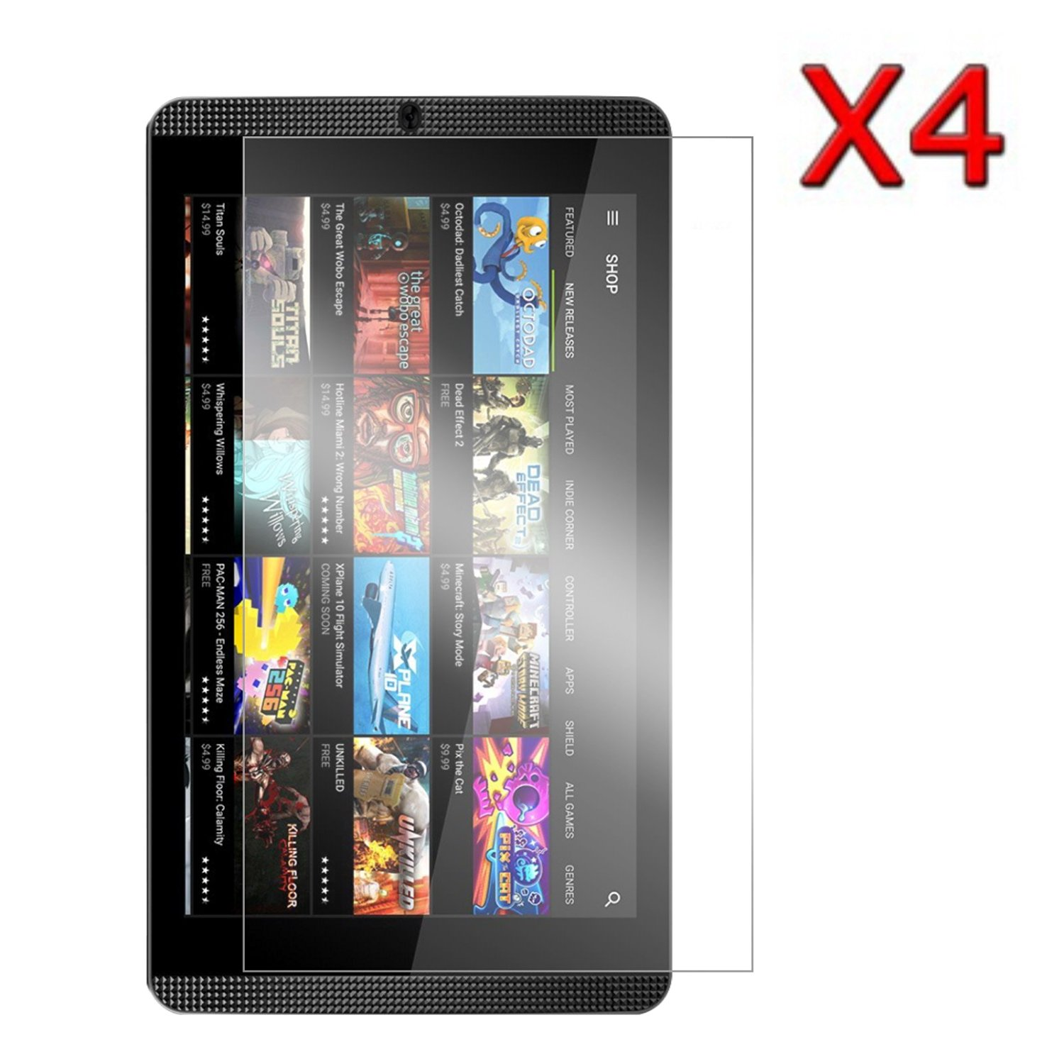 NVIDIA SHIELD Tablet K1 Screen Protector, Transwon 4-Pack Ultra-Clear Screen Protector Film Guard for 2015 Nvidia Shield K-1 8(Newest Version) / 2014 NVIDIA Shield 2 Tablet 8-Inch