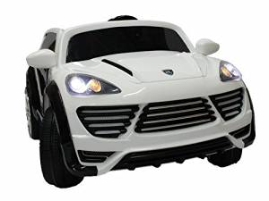 2016 New Porsche Cayenne Style Ride On Car For Kids New Look + Remote Control / Leather Seat White