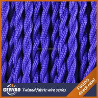 Purple Coloured cloth covered cable cotton coated copper wire fabric braided lamp wire