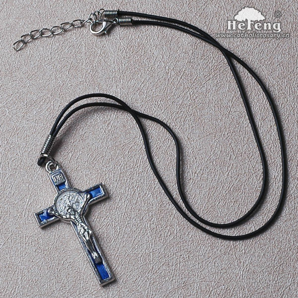 Black Crucifix Men's Leather Cord Rosary Necklace