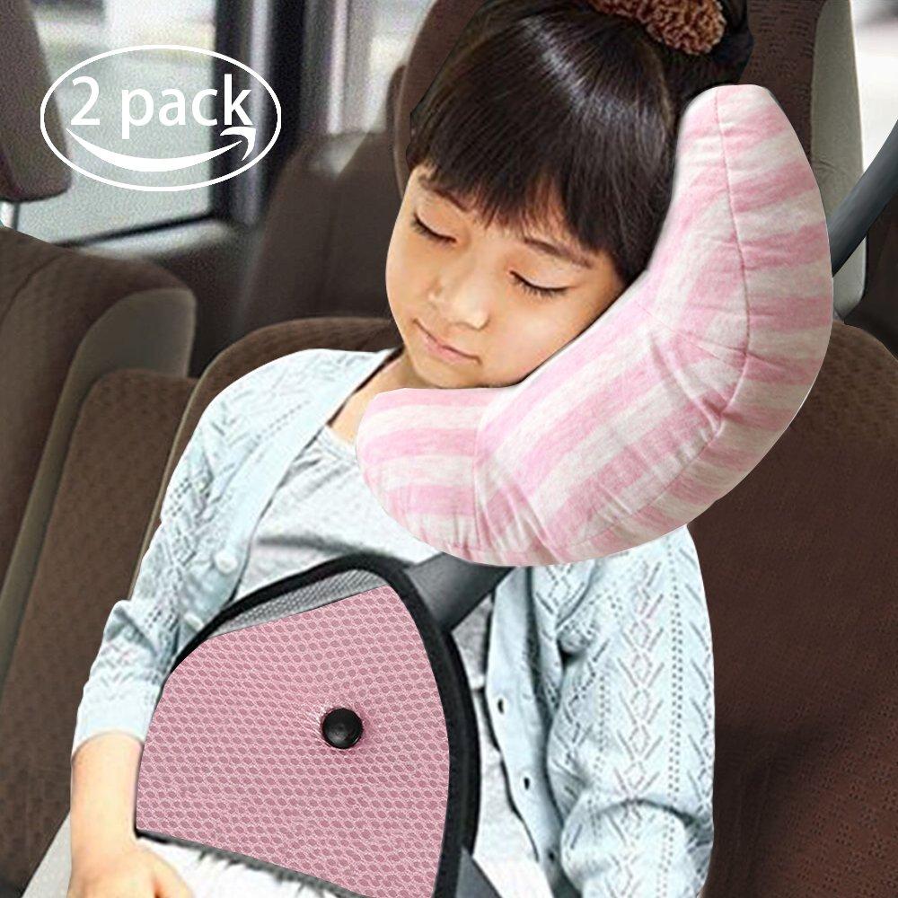 Car Seat Travel Pillow for Kids,Seatbelt Pad Headrest Neck Support Sleeping Pillow and Seatbelt Adjuster for Children,Safety Belt Sleeping Cushion and Adjuster for Children,Safety Strap Covers
