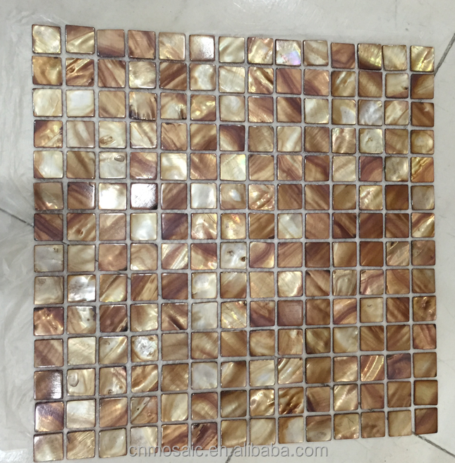 brown square natural shell mosaic for table decor
