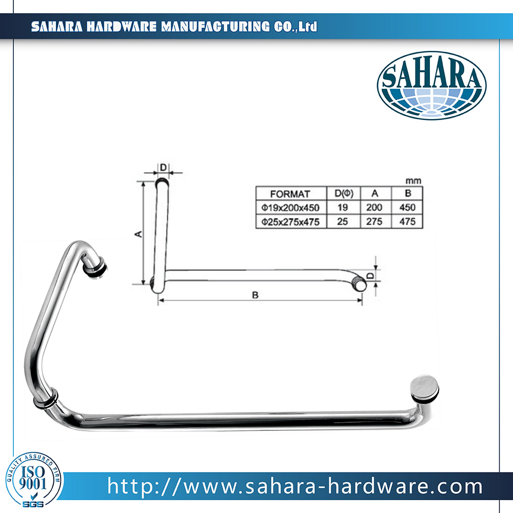 Stainless steel shower glass door Handle /Glass door handle/pull handle for glass(HD-626)