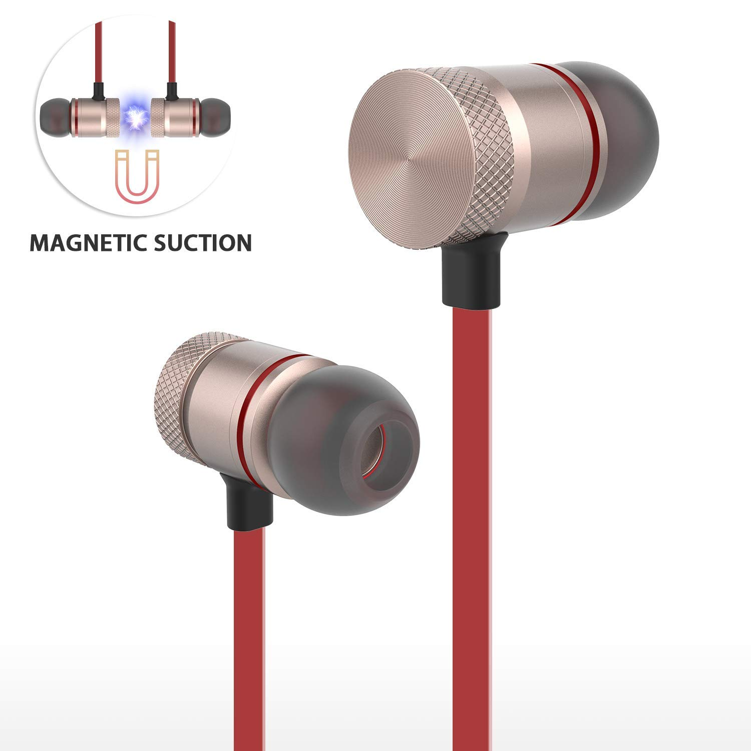 9dd4127d5fd Get Quotations · Bluetooth Headphones,AFONE Wireless Headphones Magnetic  Bluetooth Earbuds,Snug Fit for Running with Mic