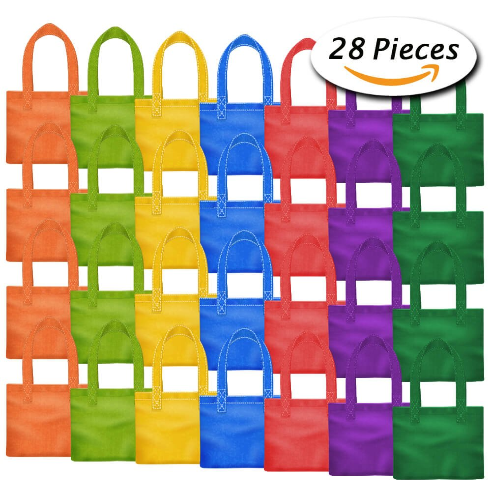 PAXCOO 28 Packs 7 Colors Party Favor Tote Gift Bags Non-woven Goodie Treat Bags with Handles for Kids Birthday, 8 x 8 Inch …