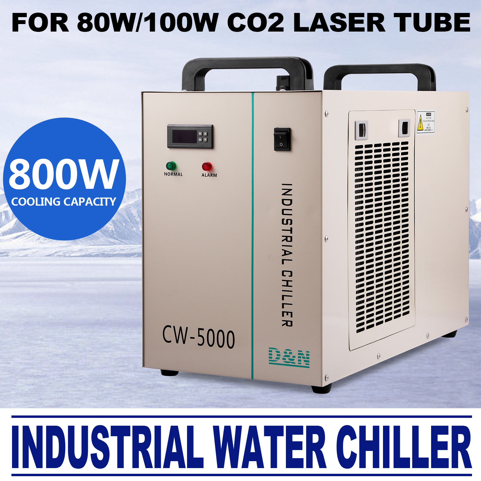 CW-5000DG INDUSTRIAL WATER CHILLER 6L TANK GLASS LASER TUBE TEMPERATURE NEWEST