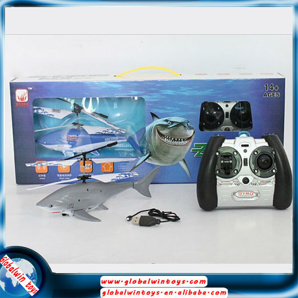 For gift!rc shark helicopter GW-TZHD2015 2.5ch Infrared remote control flying fish with light